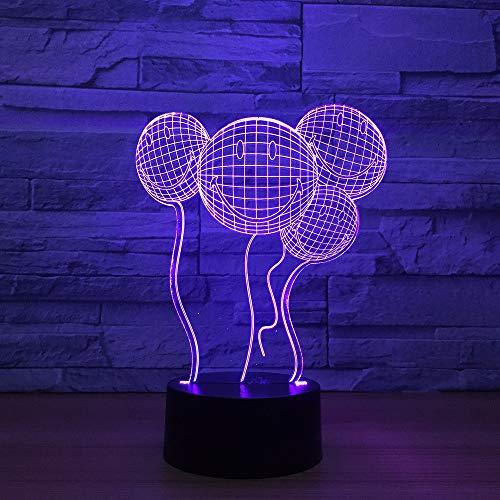 Lächelndes Gesicht Ballon 3D Nachtlicht Touch-Schalter 7 Farbwechsel Baby Schlafen Licht Hochzeit Atmosphäre Lampe