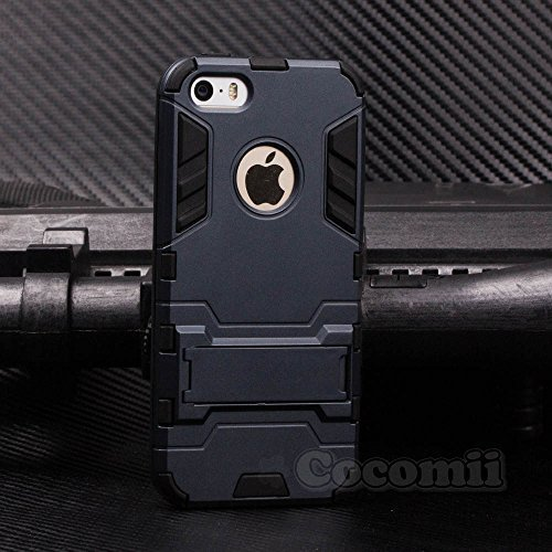 iPhone SE / 5S / 5C / 5 Hülle, Cocomii Iron Man Armor NEW [Heavy Duty] Premium Tactical Grip Kickstand Shockproof Hard Bumper Shell [Military Defender] Full Body Dual Layer Rugged Cover Case Schutzhülle Apple (Black)