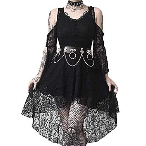 Steampunk Kleid Damen Vintage Gothic Kleid Lang Spitzenkleid Piebo Sexy Schulterfrei Langärmliges Lace Up Trompetenärmel Asymmetrisch Hoch Niedriger Punk Röcke Abendkleider Cocktail Party Cosplay