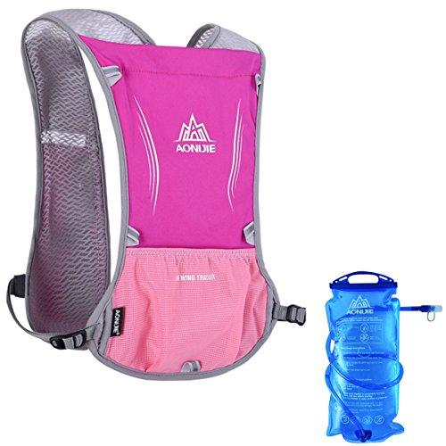 Geila Im Freien Sport Reflektierende Trail Marathonlauf Rennen Radfahren Hydratation Weste Pack Rucksack mit 1 Wasser Tasche rosarot