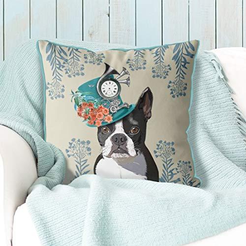 Ethelt5IV Boston Terrier Kissen Boston Terrier Kissen Hund Kissen Bezug Hund Wurfkissen Geschenk für Hundeliebhaber Geschenk Dekokissen (Boston Terrier Kissen)