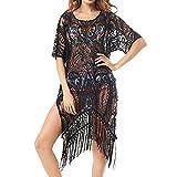 Blusón playa mujer, ❤️ Beach Wear Tops tallas grandes trajes de baño de encaje floral traje de baño Bikini Cover Up ABsolute (XL, Negro)
