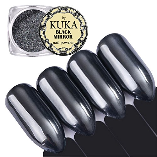 Kuka 1 G Noir miroir Chrome à ongles Poudre Brillant Manucure Nail Art Pigment poussière Décoration Applicateur d'instructions