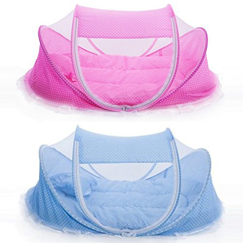 Magideal Portable Foldable Baby Mosquito Bed Crib Mattress Pillow and Tent Blue