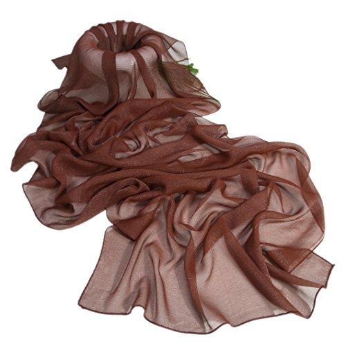 Prettystern sciarpa di seta lunga da donna stola filo di metallo argentato iridescente tinta unita marrone scuro