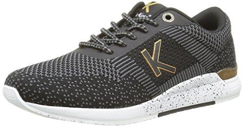 Kickers Knitwear, Baskets Basses Femme Noir (Noir Or)