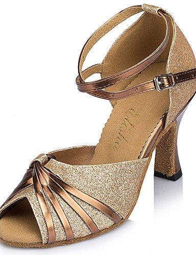 La mode moderne Sandales Chaussures de danse pour femmes personnalisables Glitter Paillettes mousseux mousseux Amérique talons Talon évasé débutant pratique Intérieur Extérieur Performances US6.5-7/EU37/UK4.5-5/CN37