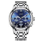 Herren Uhren, wasserdichte Luxus watches Business Armbanduhr mit Chronograph, Datumsanzeige, analoges Quarzwerk mit blauem Zifferblatt und römischen Ziffern, Edelstahlband mit Faltschließe