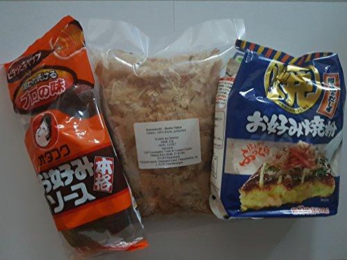 Okonomiyaki Zutaten Okonomi-Sauce Soße, Okonomiyaki-Mehl, Katsuobushi Bonito-Flocken, Zutaten, Grundzutaten Rezept, Rezeptvorschlag