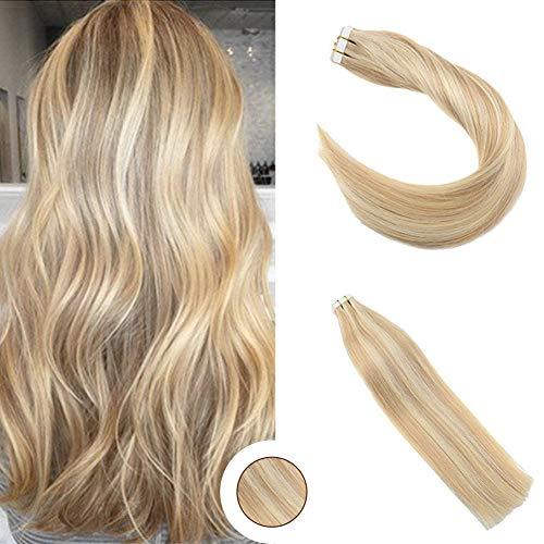 Ugeat 14 zoll Piano Color Golden Blonde Highlight with Medium Blonde Tape on Hair Extensions 100% Real Haarverlängerung Echthaar 50g 20pcs -