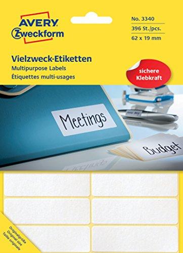 Preisvergleich Produktbild Avery Zweckform 3340 Vielzweck-Etiketten (Papier matt, 392 Klebeetiketten, 62 x 19 mm) 28 Blatt weiß