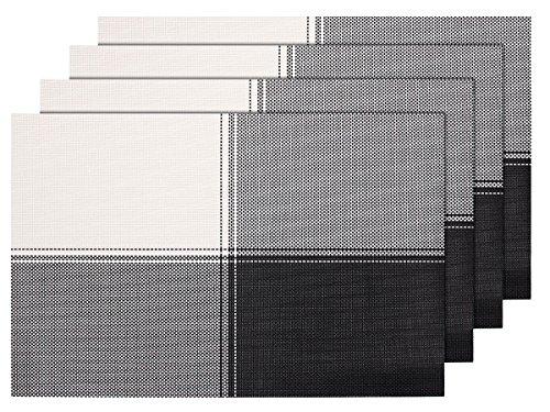 4 PZ di tovagliette americane decorative nero bianco (TS-38), set da tavola in PVC di alta qualità, Misure 45 x 30 cm, per decorazione molto elegante e durevole tavolo cucina