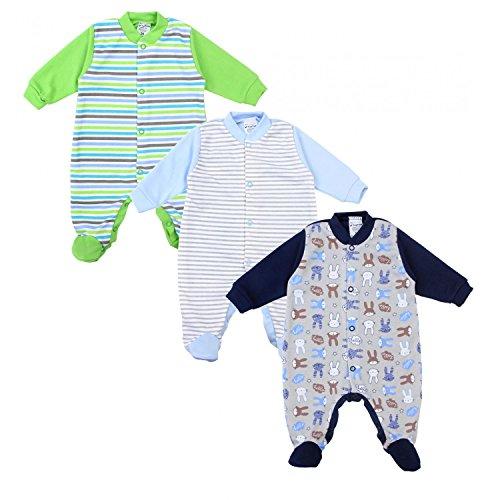 chlafstrampler Baumwolle 3er Pack, Farbe: Junge, Größe: 86 (Jungen Kleinkind Schlafanzug)