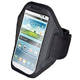 euro-handel24 handy-point Armhalter, Armband für Sport, Laufen, Joggen für Samsung Galaxy S4, S5, S5 Neo, S6, S7, A5 2016, Alpha, Grand Neo, Sony Xperia Z1, Z2, Z3, Z3+, Sony Z5 Compact, HTC One M8, M9,One E8, A9, Desire Eye, 620, LG L Bello, G3s, L80, G2, Lumia 535, 930, 830... Universell 14,5 cm x 8 cm mit Fach für Schlüssel, Kopfhörer, Schwarz