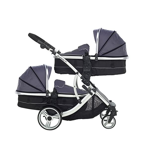 Kids Kargo Duellette Combi Suitable from Newborn. Carrycot Converts to Seat Unit. Dooglebug Silver Kids Kargo Demo video please see link https://www.youtube.com/watch?v=X_tEcnQ8O8E%20 Suitability Newborn - 15kg (approx 3 yrs). Carrycot converts to seat unit incl mattress Carrycot & car seats fit in top or bottom position. Compatible car seats; Kidz Kargo 0+, Britax Babysafe 0+ (no adapters needed) or Maxi Cosi adaptors 2