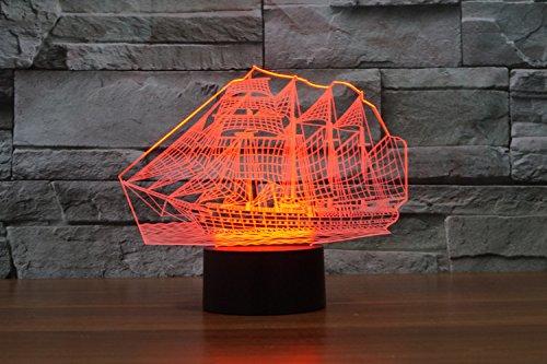 Weihnachten Geschenke 3D Leuchtet 7 bunte Farbe ändern Nachtlicht für Kinder und Jugendliche großen Schiff - 7