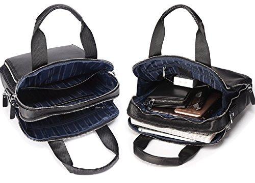 BISON DENIM Herren Leder Schultertasche Reisetasche Kleine Umhängetasche Handtaschen Black/N2333-2B