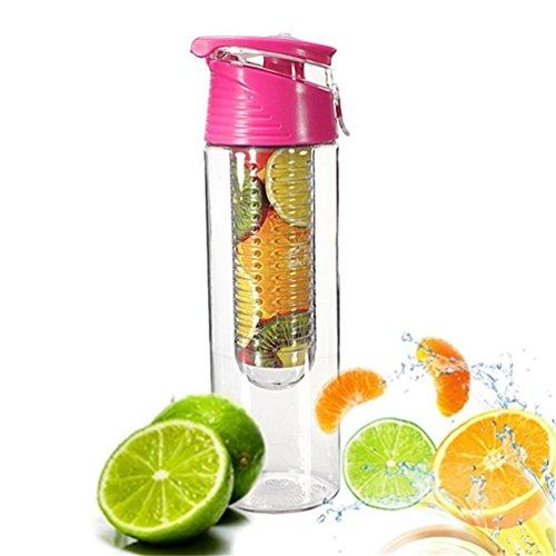 iTemer Wasserflasche mit Filter-Einsatz 800 ml Zitronensaft Fruit Früchteeinsatz und Flip-Top-Deckel Sportflasche Trinkflasche für selbstgemachte Frucht-Getränke Rose 1 Stück