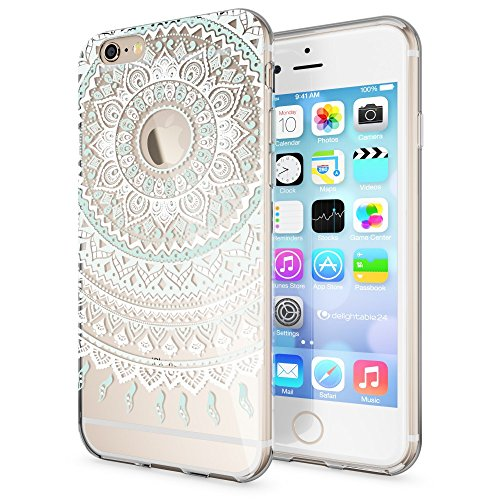 iPhone 6 6S Hülle Handyhülle von NICA, Slim Silikon Motiv Case Crystal Schutzhülle Dünn Durchsichtig, Etui Handy-Tasche Back-Cover Transparent Bumper für Apple iPhone 6S 6 - Transparent Mandala Blau Türkis