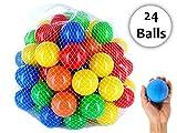 #4: iPearl Plastic Color Balls Genuine Quality Set of 24 - 8 cm Diameter Similar Size of Cricket Ball