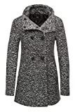 ONLY Damen Winterjacke Wolljacke Kurzmantel Wollmantel (L, Dark Grey Melange)
