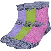 3 Pairs Men Women Running Hiking Socks - No Blister Terry Cushion, Breathable, Warm, Moisture Wicking, Arch Support, for Outdoor Sports Walking Trekking Cycling Camping Golf Gym, Unisex UK Size 2-6