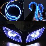 #9: Vheelocityin 85914 Blue Custom Shape Motorcycle Daytime Running Light for All Bikes