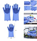 Jolly Gloves Magic Dishwashing Gloves with scrubber, Silicone Cleaning Reusable Scrub Gloves