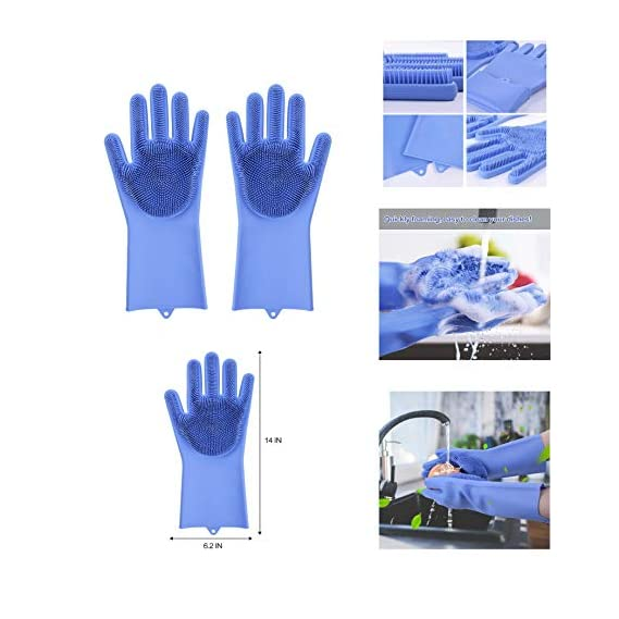 Alciono Magic Dishwashing Gloves with Scrubber, Silicone Cleaning Reusable Scrub Gloves for Wash Dish,Kitchen, Bathroom(1 Pair: Right + Left Hand)