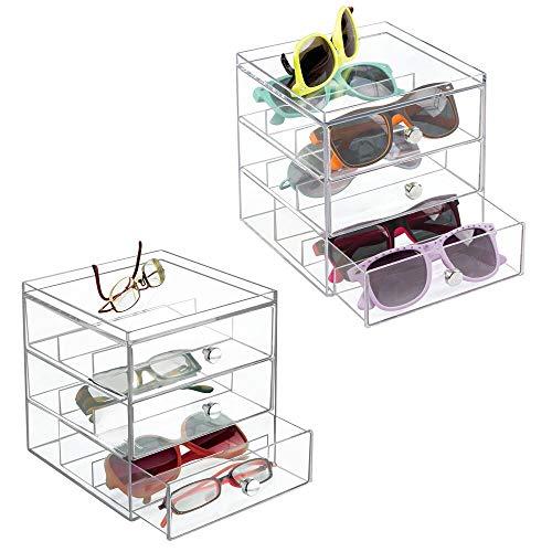 mDesign 2er-Set Aufbewahrungsbox für Brillen- Brillenablage für Brillenaufbewahrung in 3 Schubladenfür Brillen, Sonnenbrillen und Lesebrillendurchsichtig