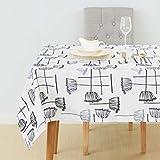 Deconovo Nappe Rectangulaire Oxford Nappe Lotus Anis Geometrique Imprimeé pour Table Basse Nappe Gris Fonce 137x274cm