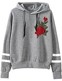 Damen Shirt Hemd Mumuj Mode Blumen Stickerei Applikation Langarm  Kapuzenpullis Frauen Lose… a59620529e
