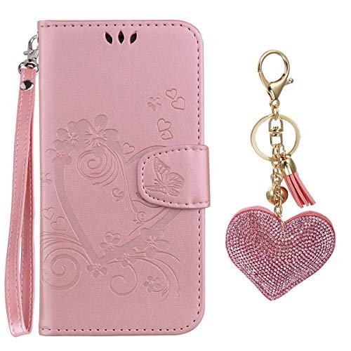 E-Mandala kompatibel mit iPod Touch 5 6 Hülle Leder Herz Flip Case Tasche handyhüllen Schutzhülle Lederhülle mit kartenfach klapphülle Handytasche - Roségold (Herz Case Für Ipod Touch 5)