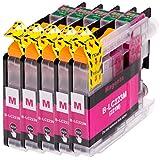 AfiD 5er Set Druckerpatronen zu Brother LC-223 Magenta für DCP-J 4120 DW DCP-J 562 DW MFC-J 1100 Series MFC-J 1140 W MFC-J 1150 DW MFC-J 1170 DW MFC-J 1180 DWT MFC-J 4420 DW MFC-J 4425 DW