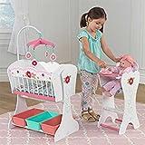 KidKraft Sweet Roses meubles de poupée en bois Berceau, chaise haute, mobiles, avec paniers de rangement (Blanc Sweet Roses)