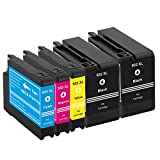 aimomo HP932X L/933X L Cartouche d'encre de rechange compatible haute capacité pour imprimantes HP Officejet Premium 660067006100761276107110(2Noir, 1Cyan, 1Magenta, 1Jaune)