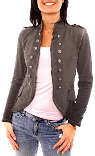 Fragola Moda Damen Vintage Uniform Military Admiral Style Sweat Jersey Blazer Sakko Jacke Kurz Knopfleiste Offen Einfarbig Dunkelgrau XS 34 (S)