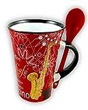 Little Snoring Geschenke Musiker Küchengeräte Cappuccino Tasse Mit Löffel 3 Entwürfe - Saxophone/Rot
