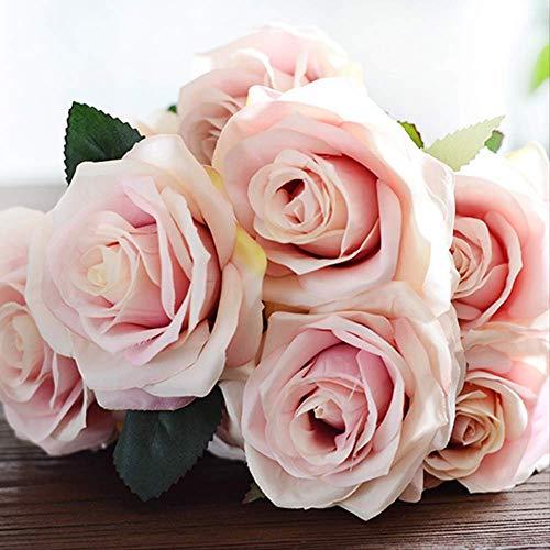 (UD-strap Europäische Simulationsklume 10 Französische Roseninnendekoration Gefälschte Blumenkohl Hochzeits-3 Bündel 44cm-3 Beam H328 Pink)