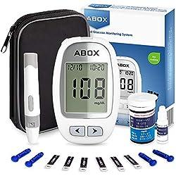 ABOX Medidor de Glucosa en Sangre, Kit de Glucómetro Codefree con 25 Tiras, 25 Picotazo, Estuche de Viaje, Paquete de Sistema de Monitoreo de de Azúcar en Sangre para Control de la Diabetes (mg/dL)