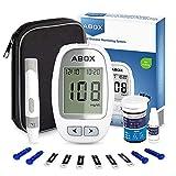 ABOX Medidor de Glucosa en Sangre, Kit de Glucómetro Codefree con 25 Tiras, 25 Lancetas, Estuche de Viaje, Paquete de Sistema de Monitoreo de de Azúcar en Sangre para Control de la Diabetes (mg/dL)