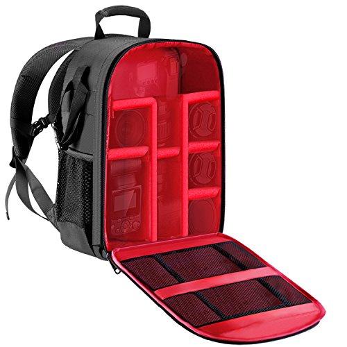 Dslr-blitze (Neewer Professionelle Kameratasche Rucksack - Wasserdicht Stoßfest 11,8x5,5x14,6 Zoll mit Stativ-Halter und Außentasche für DSLR, Spiegellose Kamera, Blitze oder andere Zubehörteile (Rote Innere))