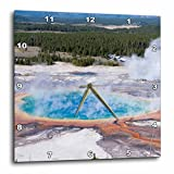 3dRose DPP 206795 _ 3 Wyoming Grand Prismatic Geyser, Midway géiser Lavabo, Yellowstone NP Reloj de Pared, 15 por 15 '