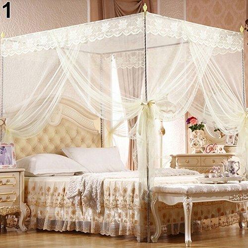 yibenwanligod Romantische Prinzessin Lace Canopy Anti-Moskitonetz No Frame für Twin Full Queen King Bed Beige König -
