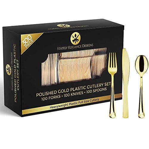 Stately Elegance Designs Besteck-Set, Kunststoff, goldfarben, 300 Stück, inkl. 100 Gabeln, 100 Messern und 100 Löffeln 300 Piece Set gold
