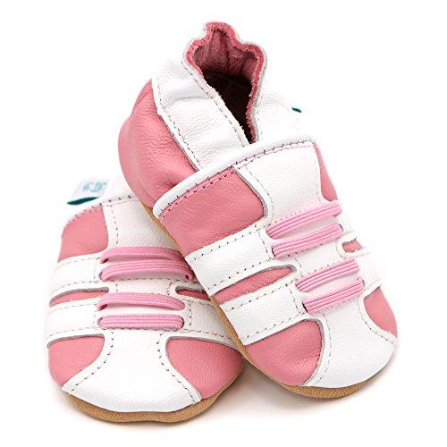 Dotty Fish - Chaussures cuir souple bébé et bambin - Garçons et filles - Chaussures sport bleu marine et rose Rose sportif