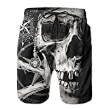 Mens Pirate Skull and Compass 2018 New Summer Beach Board Shorts Quick Dry Casual Cargo Pants with Pockets