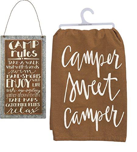 Primitives by Kathy Camping Decor Bundle, Camp Rules Schild mit Camper Sweet Camper Handtuch