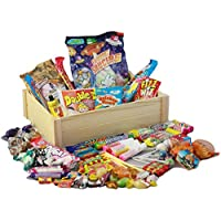 Beautiful Wooden Crate of Retro Sweets - Light Wood - Over 60 of your Favourite Childhood Sweets... Your Childhood in a Crate!