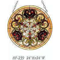 Gweat HF-239 24 Pulgadas Pastoral Vintage Tiffany Estilo Hecho A Mano Vidrieras Iglesia Arte Ventana Colgante Panel de Cristal Suncatcher